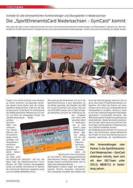 """Die """"SportEhrenamtsCard Niedersachsen – GymCard"""" kommt - NTB"""