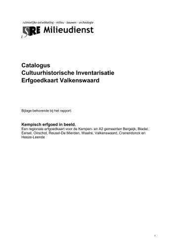 Catalogus cultuurhistorische inventarisatie gemeente Valkenswaard