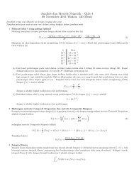 Analisis dan Metode Numerik - Quis 4 08 November 2011 Waktu ...