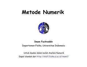 Metode Numerik 2 - Universitas Indonesia