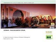 GERMAN - IRAQI BUSINESS FORUM. - NuMOV