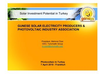 Solar Investment Potential in Turkey GUNESE SOLAR ... - NuMOV