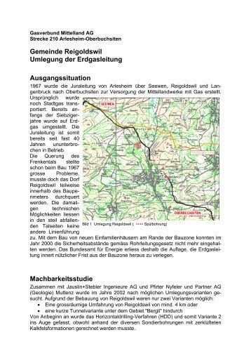 Gemeinde Reigoldswil Umlegung der Erdgasleitung ... - Nodig-Bau.de