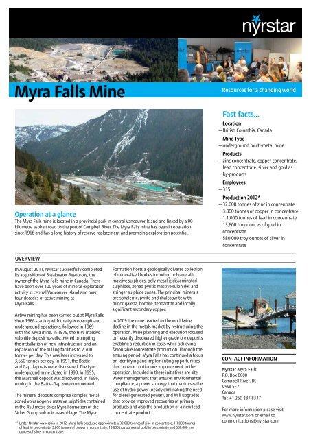Myra Falls Mine - Nyrstar