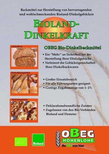 Backmittel zur Herstellung von hervorragenden ... - OBEG Hohenlohe