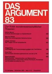 Das Argument 83 - Berliner Institut für kritische Theorie eV
