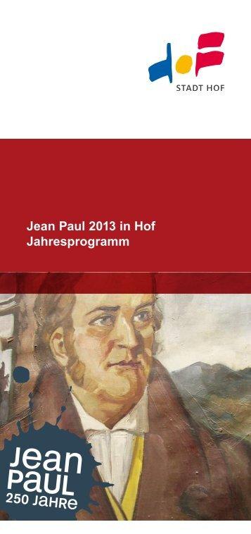 Jean Paul 2013 in Hof Jahresprogramm