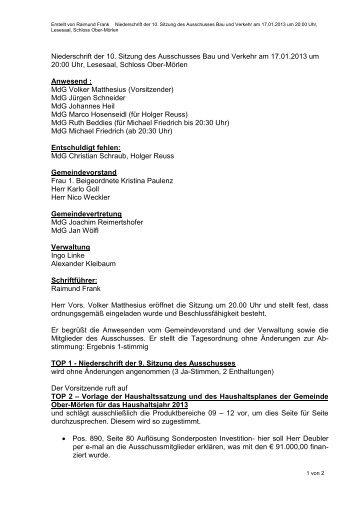 Niederschrift der 10. BuV-Sitzung vom 17.01.2013 - Gemeinde Ober ...