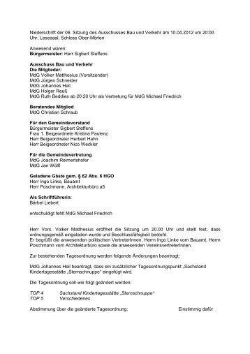Niederschrift der 06. BuV-Sitzung vom 10.04.2012 - Gemeinde Ober ...