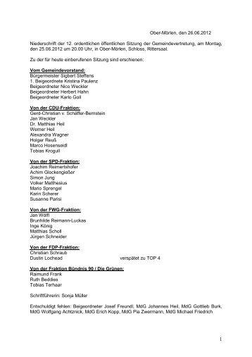 Niederschrift der 12. Gemeindevertretersitzung vom 25.06.2012