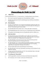 Finanzordnung des Finanzordnung des Nordic Cat Nordic Cat Club