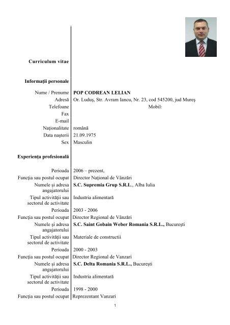 curriculum vitae model agent vanzari
