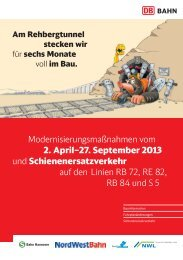 Flyer zur Sperrung Rehbergtunnel mit Fahrzeiten - NordWestBahn
