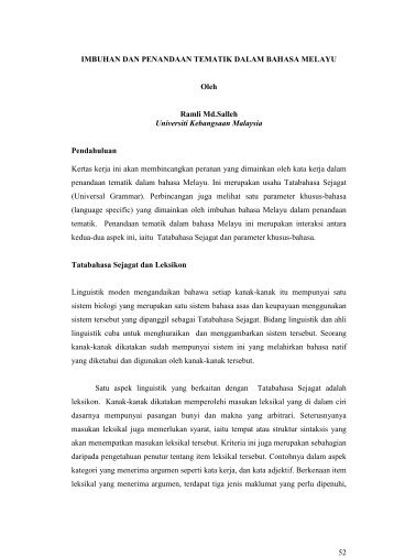 peranan teta dalam bahasa melayu - UKM Journal Article Repository