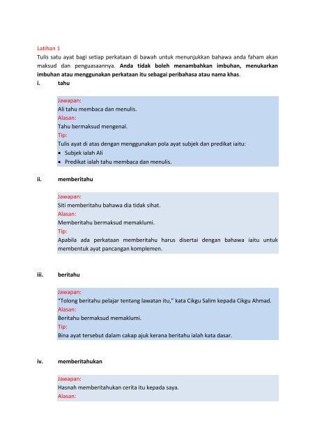 Latihan 1 Tulis Satu Ayat Bagi Setiap Perkataan Di Bawah Orenda