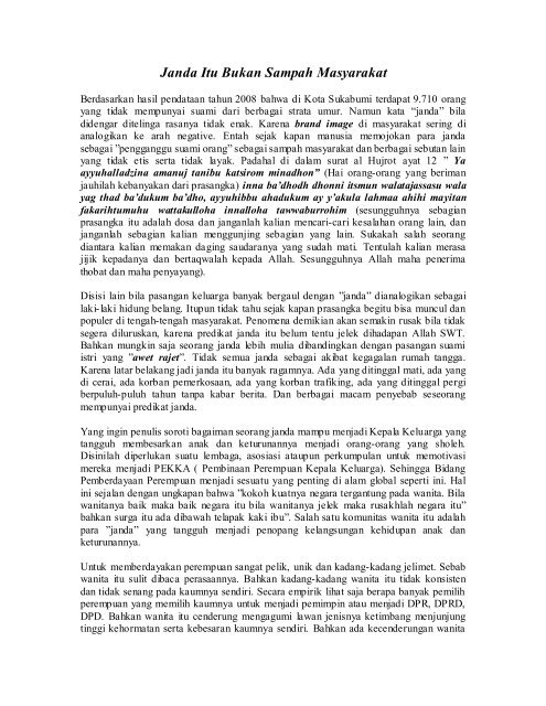 Janda Itu Bukan Sampah Masyarakat Pemerintah Kota Sukabumi
