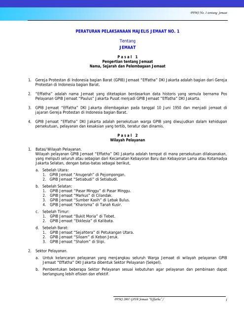 Peraturan Pelaksanaan Majelis Jemaat No 1 Effatha