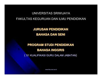 S1 Kualifikasi Palembang - FKIP Unsri