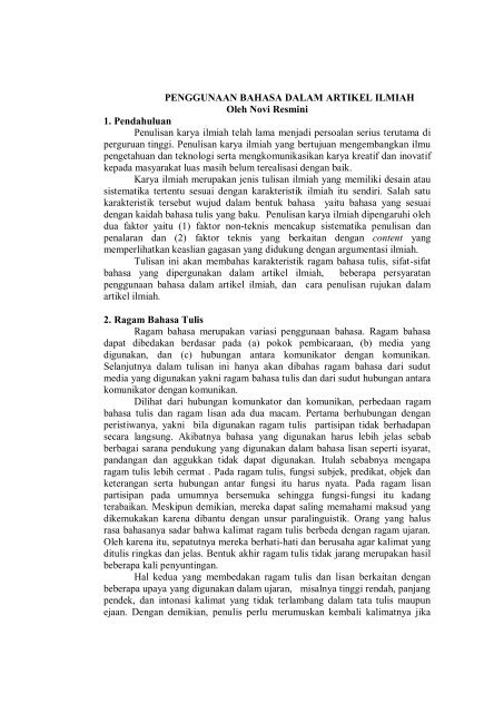 Penggunaan Bahasa Dalam Artikel Ilmiah