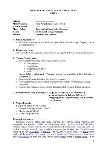 RPP EEK Berkarakter IPA SD IV-1