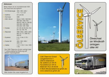 Ölwechsel an Windkraft- anlagen aller Art - C&D Ölservice GmbH