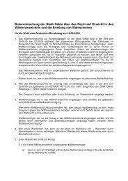 Bekanntmachung Einsicht WVZ Bundestagswahl - Oelde