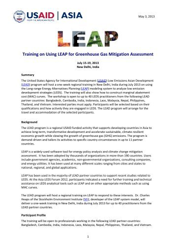 Training on Using LEAP for Greenhouse Gas Mitigation Assessment