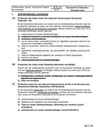 Russische Federatie / Douane-unie I ... - Favv