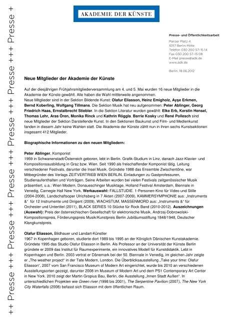 Kurzbiografien der neuen Mitglieder - Akademie der Künste