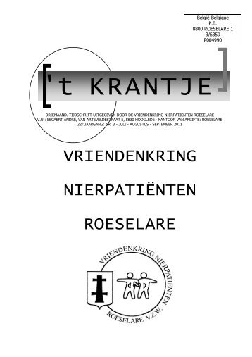 krantje derde kwartaal 2011 - Vriendenkring Nierpatiënten Roeselare