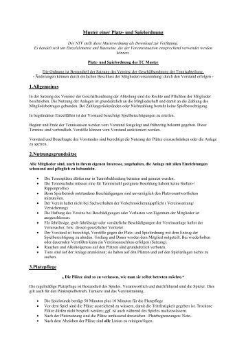 Muster einer Platz- und Spielordnung 1.Allgemeines 2 ... - NTV