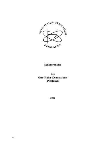Schulordnung - Otto-Hahn-Gymnasium