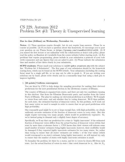 Problem Set 3 (pdf) - CS 229