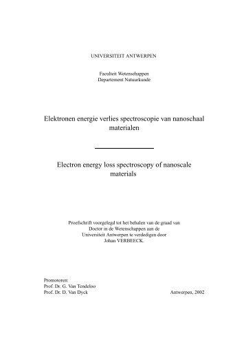 Electron energy loss spectroscopy of nanoscale materials