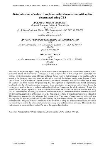 Determination of onboard coplanar orbital maneuvers with ... - WSEAS