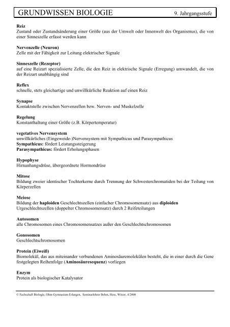 GRUNDWISSEN BIOLOGIE - Ohm-Gymnasium