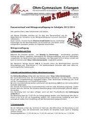 Informationen zur Mittagsverpflegung 2013 - Ohm-Gymnasium