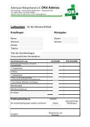 Leihschein für die mobile Live-Aufnahmeeinheit - Adenauer ...
