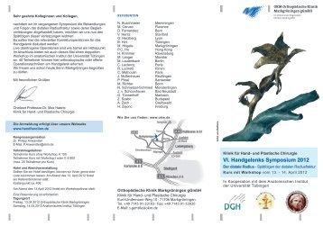 VI. Handgelenks Symposium 2012 - Orthopädische Klinik ...