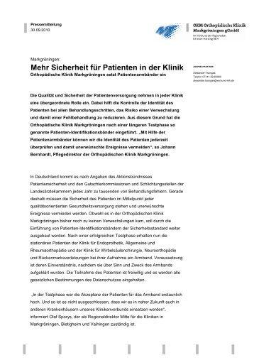Mehr Sicherheit für Patienten in der Klinik - Okm.de