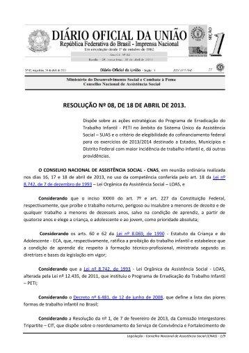 RESOLUÇÃO Nº 08, DE 18 DE ABRIL DE 2013.