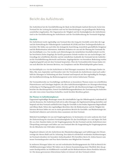 Bericht des Aufsichtsrats - Oldenburgische Landesbank