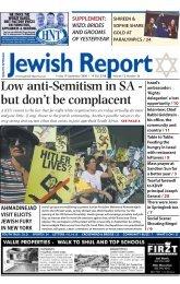 Low anti-Semitism in SA - South African Jewish Report