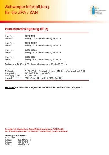 Merkblatt Fissurenversiegelung + aktuelle Termine