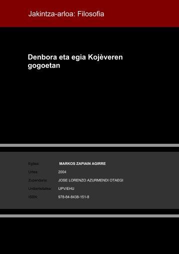Denbora eta egia Kojèveren gogoetan Jakintza-arloa ... - Euskara