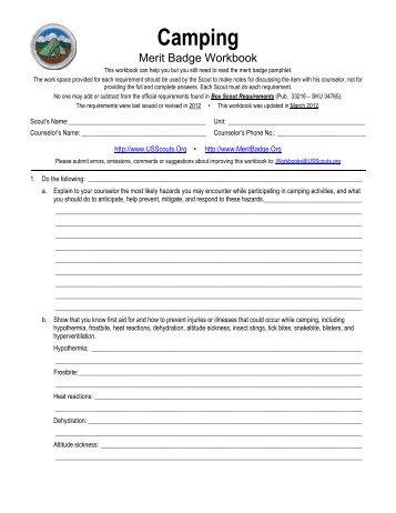 Camping Merit Badge Worksheet Answers - Phoenixpayday.com