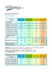 Camping Riccione Prijslijst 2010