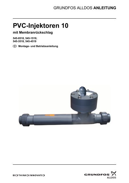 PVC-Injektoren 10 mit Membranrückschlag - Alldos