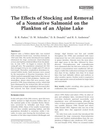 The Effects of Stocking and Removal of a Nonnative Salmonid on ...