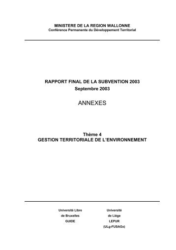 Annexes + E&D 4 - CPDT Wallonie